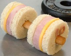 Dumbbell sandwich... Cute lunch or snack idea for kids...