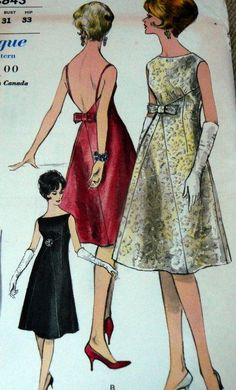LOVELY VTG 1960s EVENING DRESS VOGUE Sewing Pattern 10/31