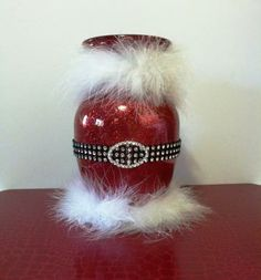 Red Glass Vase Painted Glittered Christmas Santa Claus Centerpiece Home Decor by CreativeGlassByBecky for $27.95