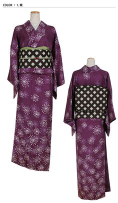 """""""Purple"""" kimono from Shanari.  The design is labeled asケサランパサラン Kesaran-pasaran, which is an interesting motif that I have never seen on a kimono.  Kesaran-pasaran is an unknown Fluffy Thing, which is either the fluff of a """"vine-seed weed"""" you can use as a powder puff, OR a mythical fluffy animal made of dandelion puffs which became all the rage in Edo period and again in the 1970's— sparking a nationwide 'hunt'/obsession for Kesaran-pasaran like"""