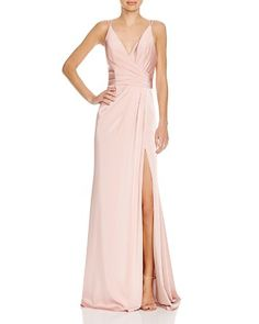 $Faviana Couture Faille Satin Draped Gown - Bloomingdale's