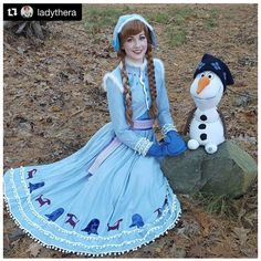 J995 OLAF'S FROZEN ADVENTURE Anna dress embroidery version