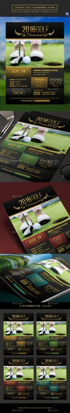Elegant Charity Golf Tournament Flyer by arifpoernomo This Elegant Charity Golf Tournament Flyer Template, can be used for fund-raising golf tournament, sport event, etc. File feature