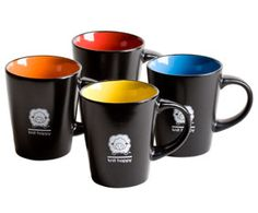 Knit Happy Bright Sip Mugs... 12 ounce ceramic mug with matte black exterior and hand dipped bright color interior. The mugs are lead free and are food safe.