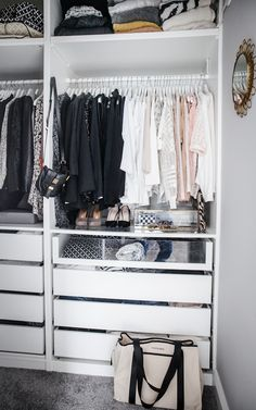 Fantastic walk in closet features an Ikea Pax Closet System boasting clothes rai. Fantastic walk in closet features an Ikea Pax Closet System boasting clothes rails over pull out dr Ikea Closet System, Ikea Pax Closet, Closet Bedroom, Master Closet, Closet Drawers Ikea, Ikea Pax Wardrobe, Wardrobe Storage, Wardrobe Closet, Entryway Closet