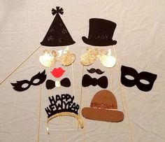 Photo Booth Props 12 pc New Years Eve Holiday Photobooth Props Glitter Photo Booth Party Props 2015 Masks Party Hats New Year Photo Booth by PimpYourParty on Etsy