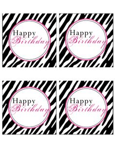 Emme & Me Free Pink Zebra Happy Birthday tags. Spa Birthday Parties, Fairy Birthday Party, Barbie Birthday, 1st Birthday Girls, Zebra Birthday, Spa Party, 10th Birthday, Happy Birthday Tag, Happy Birthday Printable
