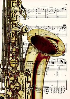 The combination of the sheet music and the saxophone is interesting. Saxophone Music, Jazz Art, Dictionary Art, Music Notes, Sheet Music, Music Sheets, Musicals, Instruments, Free Shipping