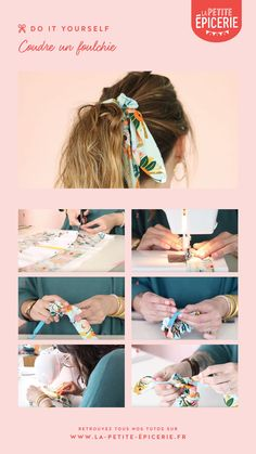 Coudre un foulchie - Coudre un foulchie - Learn the rudiments of Diy Hair Scrunchies, Diy Hair Bows, Barrettes, Diy Hair Accessories, Sewing Accessories, Ideias Diy, Couture Sewing, Diy Headband, Scarf Hairstyles