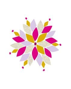 8x10 Giclee Art Print - Original Design of a Pink, Purple and Yellow Geometric Snowflake