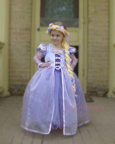 Rapunzel Costume Dress Tangled by BITSnSCRAPS on Etsy, $115.00