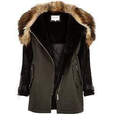 Khaki faux-fur trim parka winter coat - parkas - coats / jackets - women