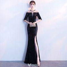 Sexy Black Evening Dresses 2018 Trumpet / Mermaid Sequins Split Front Scoop Neck 1/2 Sleeves Ankle Length Formal Dresses