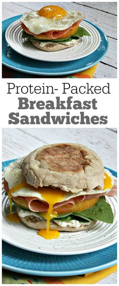 Protein Packed Breakfast Sandwiches : whipped cream cheese, fresh spinach, tomato, prosciutto, egg on a toasted English Muffin.  These are so good and they'll keep you feeling full. @thomasbreads