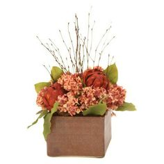 Distinctive Designs Fall Mix of Hydrangeas and Twigs Silk Flower in Pot - 3407