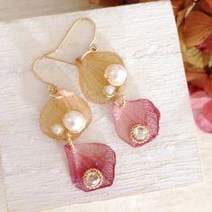 秋色紫陽花(紅)ピアス・イヤリング|ピアス|SiS flower jewelry|ハンドメイド通販・販売のCreema