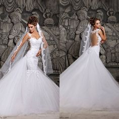 2014 New Arrival Sexy Lace Nude Backless Bridal Gown White Tulle Sweetheart Mermaid Wedding Dresses With Long Train $189.50