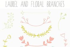 Laurel Clip Art and Floral Branches by FIELDandFOUNTAIN on @creativemarket