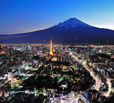 Mt Fuji and Tokyo city in twilight, Japan