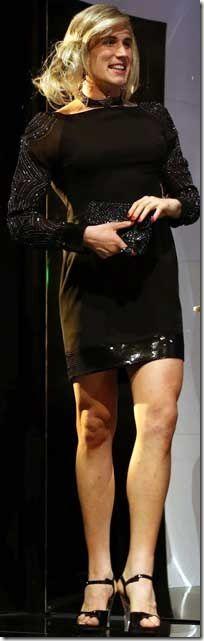 Actor Tim Dashwood femulating on stage in Managing Carmen, Australia 2012
