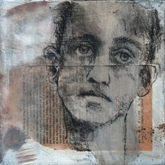 Charcoal drawing on wood, found paper