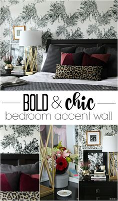 Sophisticated statement wall with black and white feminine wallpaper!! | www.thisisourbliss.com