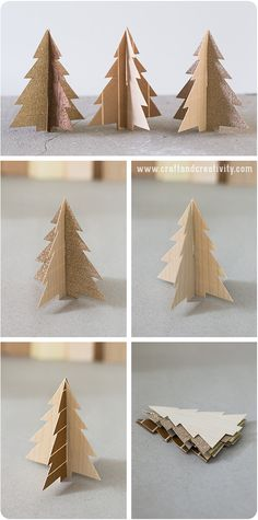 Decorate you home for the holidays with these small 3D #DIY Christmas trees made out of wood veneer and glittery washi tape.