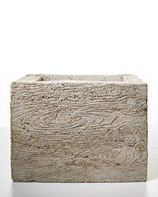 Faux-Bois (fake box) planter mold from Martha Stewart ((garden-hypertufa-concrete)) Concrete Casting, Concrete Cement, Concrete Crafts, Concrete Projects, Concrete Garden, Concrete Planters, Garden Planters, Diy Planters, Garden Crafts
