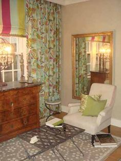 Lake Forest Coachhouse::Deb Reinhart Interior Design Group:: bedroom sitting area, striped shade, floral curtains