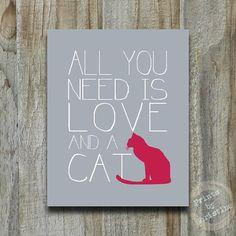 All You Need ist Liebe Katze zitieren Print von PrintsbyChristine