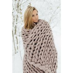 Chunky Knit Blanket Throw Blanket From Giant Yarn Arm Knit Blanket... (€53) ❤ liked on Polyvore featuring home, bed & bath, bedding, blankets, merino wool bedding, chunky knit throw, yarn blanket, chunky throw blanket and knit throw blanket