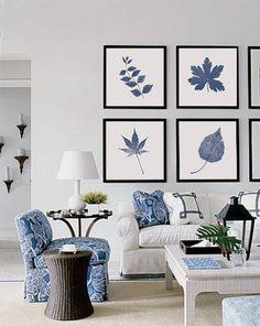 Imprimés téléchargeables Art mural bleu botanique imprimer | Etsy