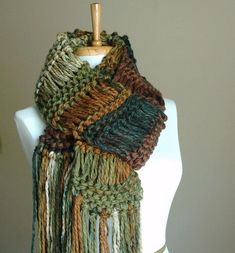Chunky Hand Knit Scarf Drop Stitch in Woodlands Shades of Green Brown Crochet Quilt, Tunisian Crochet, Knit Crochet, Loom Knitting, Hand Knitting, Knitting Patterns, Knitted Cape, Knitted Shawls, Knit Scarves