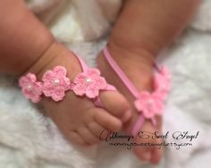 dbbb3664359c Crocheted flower baby barefoot sandals. Available in 21 Baby Sandals