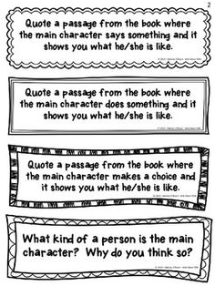 """These Character Study Reading Exit Slips will organize your """"character study"""" mini-lessons and keep you and your students accountable for reading and responding with purpose during Reading Workshop.  Included in this set are 46 exit slips/response journal prompts that focus on visualizing, quoting passages, character feelings, traits, actions, dialogue, personality, description, change, conflict/resolution, theme, lessons learned, comparisons, connections, self reflection and much more. $"""