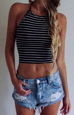 striped halter top + denim shorts