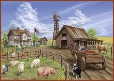 Farm Life - Animals, Barn, Flag, Horse, House, Wagon, Windmill  architecture.desktopnexus.com