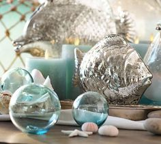 Recycled Glass Balls - Set of 3 #potterybarn