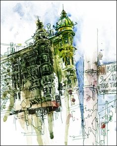 """Columbus Tower"" (Watercolor, Ink, & Pen) - I love great architecture but I really like the vibrant colors he used."