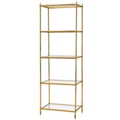 French Mid-Century Modern Brass and Glass Etagere, circa 1960s | From a unique collection of antique and modern shelves at https://www.1stdibs.com/furniture/storage-case-pieces/shelves/