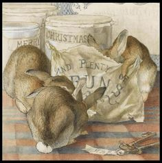 """""""Three rabbits eating a lot of buns""""   Another message emerges from the canisters that say """"Merry Christmas"""".  She signed the illustration with her initials on the label of the keys!"""