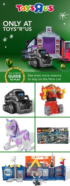 "Gifts that are only at Toys""R""Us have big-time play value, (they get the biggest smiles, too). Check out these and LOTS MORE in our holiday catalog. 1. Cozmo by Anki Collector's Edition 2. Power Rangers Ninja Steel Lion Fire Fortress 20"" Zord 3. Zoomer Enchanted Unicorn 4. LEGO Speed Champions construction sets 5. Rusty Rivets Rivet Lab"