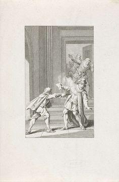 Reinier Vinkeles | Moord op Willem van Oranje, 1584, Reinier Vinkeles, Jacobus Buys, 1782 - 1784 | De prins van Oranje te Delft vermoord door Balthasar Gerards, 10 juli 1584. Willem van Oranje wordt in de hal neergeschoten.