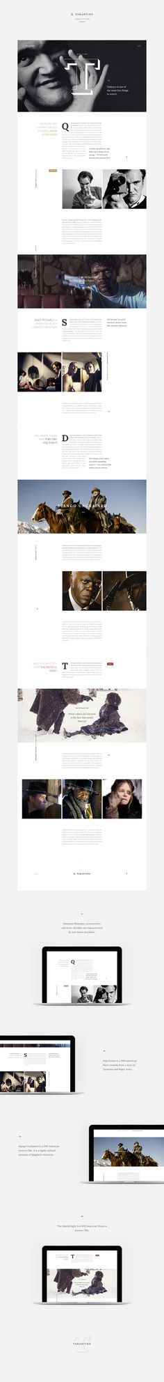 Tarantino personal website concept - Web Design - Editorial Design translated to Web, Big images, Clean, Typographic Minimal Web Design, Design Web, Web Design Mobile, Blog Design, Design Ideas, Web Responsive, Ui Web, Website Design Inspiration, Web Layout