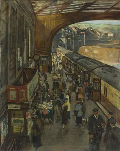 Stanhope Alexander Forbes - The Terminus, Penzance Station, 1925 National Railway Museum, Dark Drawings, Wooden Buildings, Irish Art, Realism Art, Impressionist, Modern Art, Oil On Canvas, Poster