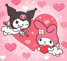 Kuromi and My Melody Sanrio Hello Kitty, Hello Kitty My Melody, Hello Kitty Art, Hello Kitty Cartoon, Bts Poster, Vintage Cartoons, Dibujos Cute, Wow Art, Sanrio Characters