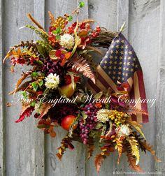 Americana Heritage Wreath with Tea Stained Flag  ~A New England Wreath Company Designer Original~