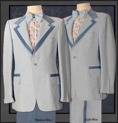 Boys Size Vintage Light Blue Tuxedo Tailcoat Retro Prom 1970/'s Costume Disco