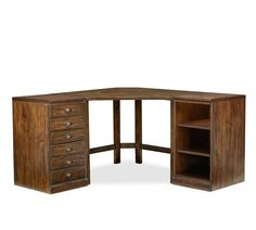 Printer's Corner Desk Set, Tuscan Chestnut stain - Home Office Furniture - Wood Desks - Wood Desk Sets - Pottery Barn Office Table, Home Office Desks, Home Office Furniture, Office Playroom, Timber Furniture, Office Spaces, House Furniture, Diy Furniture, Transitional Coffee Tables
