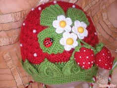 A cute strawberry crocheted hat